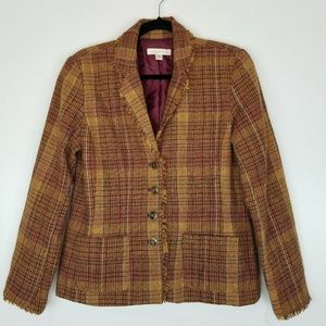 Coldwater Creek Purple & Tan Tweed Jacket